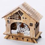 Svítící dřevěný betlém - 26x19 cm