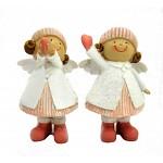 Andělka s čepicí a srdcem - 12 cm - bílo-růžová glitr