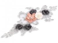 Monofilová aplikace (vsadka) květy - stříbrná