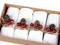 Vánoční sada látkových ubrousků s kroužky červená - 4 ks