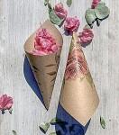 Papírový kornout na plátky růží - 8 ks - kraft s růží