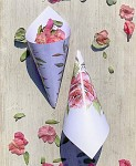 Papírový kornout na plátky růží - 8 ks - bílý s růží