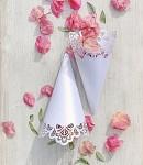 Papírový kornout na plátky růží - 8 ks - bílý s vějířky