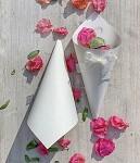 Papírový kornout na plátky růží - 8 ks - bílý s mašličkou