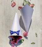 Papírový kornout na plátky růží - 8 ks - modrá mašlička