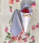 Papírový kornout na plátky růží - 8 ks - zlatá mašlička