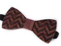 Pánský dřevěný motýlek - přírodní s červenou