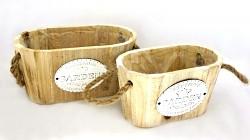 Vintage dřevěný truhlík GARDEN natur - oválný velký