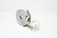 Stuha vlizelín 40 mm - hortenzie bílé - 1 m