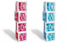 Papírový box 30x30x30 cm na balonky - BABY
