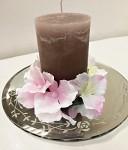 Skleněná zrcadlová podložka pod svíčky s růžičkami - 20 cm