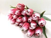 Tulipán umělý - červeno-bílý