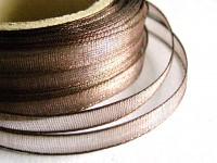 Šifonová stuha lemovaná  - 6 mm - hnědá - 1m