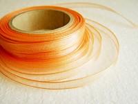 Šifonová stuha lemovaná  - 6 mm - lososová - 1m