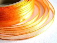 Šifonová stuha lemovaná  - 6 mm - oranžová - 1m