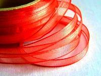 Šifonová stuha lemovaná  - 6 mm - červená - 1m