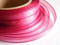 Šifonová stuha lemovaná  - 6 mm - tm.růžová - 1m