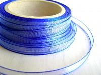 Šifonová stuha lemovaná  - 6 mm - tm.modrá - 1m
