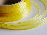 Šifonová stuha lemovaná  - 6 mm - žlutá - 1m