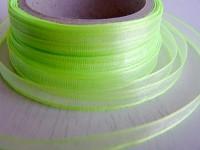 Šifonová stuha lemovaná  - 6 mm - sv.zelená - 1m