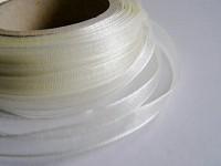 Šifonová stuha lemovaná  - 6 mm - krémová - 1m