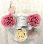 Mini flowerboxík s mýdlovou růží - krémový