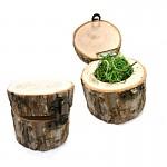 Dřevěná krabička s kůrou kulatá malá - na prstýnky
