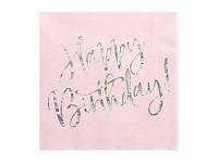 Ubrousky - Happy birthday pudrově růžové