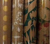 Balicí dárkový papír kraftový LUX - zelené listy - 2m x 70 cm