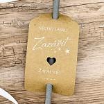 Kartičky na prskavky - kraftová se srdcem, bílý tisk - 8 ks