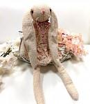 Zajíček sedící textilní vintage - svěšené uši - 41 cm