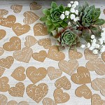 Svatební papírové konfety srdíčka LÁSKA - hnědá s bílou