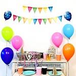 Girlanda papírová s balonky 24 x 150 cm - Veselé narozeniny vlaječky