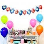 Girlanda papírová s balonky 24 x 150 cm - Narozeniny modro-červené