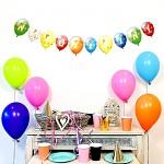 Girlanda papírová s balonky 24 x 150 cm - Narozeniny mix barev