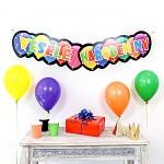 SK girlanda (banner) 25 x 125 cm - Veselé narodediny balónkové