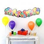 SK Girlanda (banner) 25 x 125 cm - Šťastné narodediny balónkové