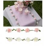 Girlanda s pěnovými růžičkami - 120 cm - bílá