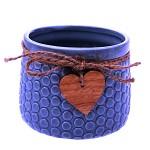 Květináč keramický Garden se srdíčkem - tm.modrý 11 cm