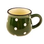 Keramický hrnek mini s puntíky - zelený 75 ml