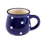 Keramický hrnek mini s puntíky - modrý 75 ml