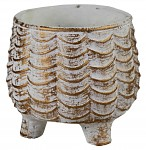 Betonový obal Scalea bílo-zlatý na nožičkách - 12 x 13 cm