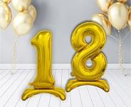Foliový balonek 74 cm  - číslo 0 - 9  k postavení -  zlatý
