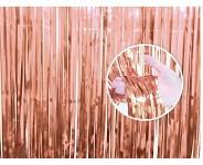 Párty záclona fóliové třásně 90 x 240 cm - rosegold