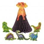 Párty papírová dekorace - sopka + dinosaouři