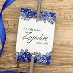 Kartičky na prskavky - modré květy - 8 ks