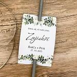 Kartička (návlek) na prskavky - bílé růže - s tiskem - 1ks