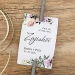 Kartička (návlek) na prskavky - bílé s růžemi - s tiskem - 1ks