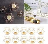 Svícen severský styl - geometric - zlatý - 1 ks - půjčovna