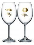 Dárkové párové sklenice na víno - 2x440 ml - Mr. a Mrs.